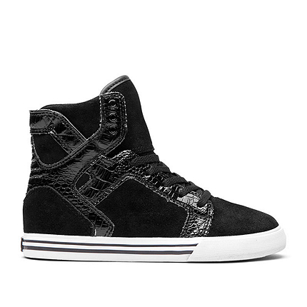 Supra Youth Skytop Skate Shoes - Black Croc